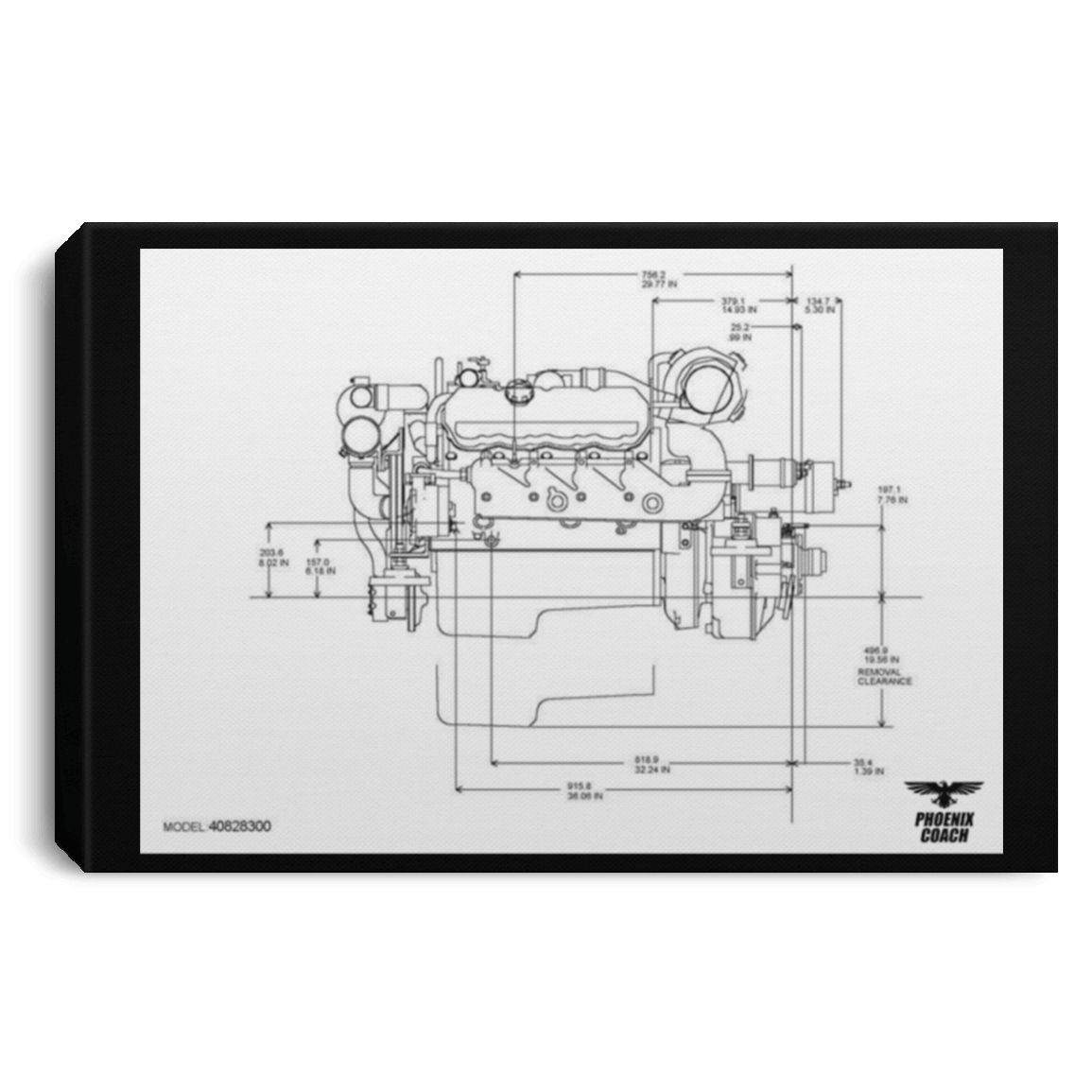 Detroit Diesel 8v92 Diagram Canla75 Landscape Canvas  75in